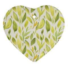 Green Leaves Nature Patter Heart Ornament (two Sides) by paulaoliveiradesign