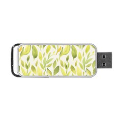 Green Leaves Nature Patter Portable Usb Flash (two Sides) by paulaoliveiradesign
