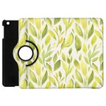 Green Leaves Nature Patter Apple iPad Mini Flip 360 Case Front