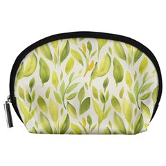 Green Leaves Nature Patter Accessory Pouches (large)  by paulaoliveiradesign