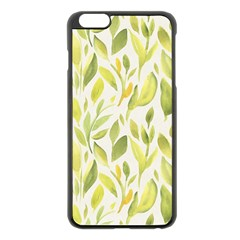 Green Leaves Nature Patter Apple Iphone 6 Plus/6s Plus Black Enamel Case by paulaoliveiradesign