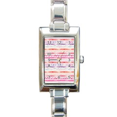 Watercolor Tribal Pattern Rectangle Italian Charm Watch