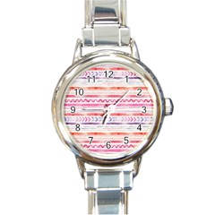 Watercolor Tribal Pattern Round Italian Charm Watch