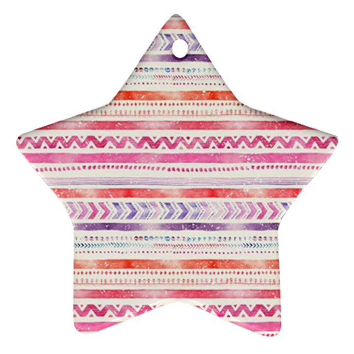 Watercolor Tribal Pattern Ornament (Star)