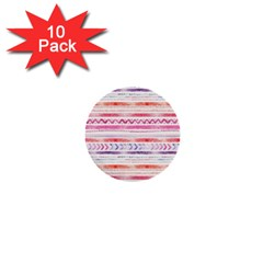 Watercolor Tribal Pattern 1  Mini Buttons (10 Pack)