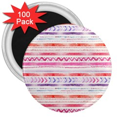 Watercolor Tribal Pattern 3  Magnets (100 Pack)