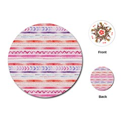 Watercolor Tribal Pattern Playing Cards (round)