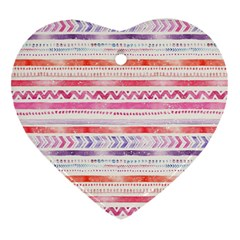 Watercolor Tribal Pattern Heart Ornament (two Sides)
