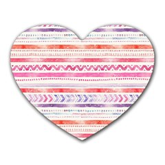 Watercolor Tribal Pattern Heart Mousepads