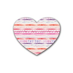 Watercolor Tribal Pattern Rubber Coaster (heart)