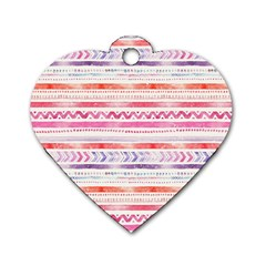 Watercolor Tribal Pattern Dog Tag Heart (two Sides) by tarastyle