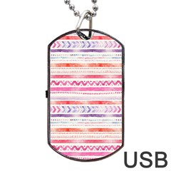 Watercolor Tribal Pattern Dog Tag Usb Flash (two Sides)