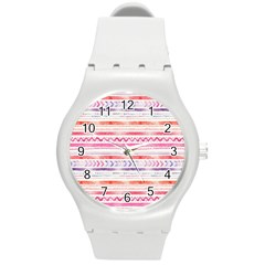 Watercolor Tribal Pattern Round Plastic Sport Watch (m)