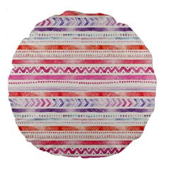 Watercolor Tribal Pattern Large 18  Premium Round Cushions by tarastyle