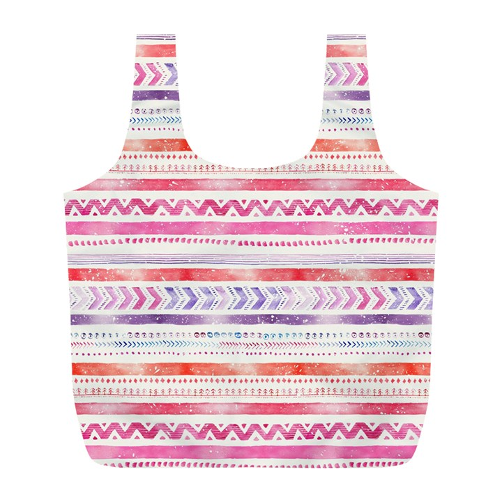 Watercolor Tribal Pattern Full Print Recycle Bags (L)