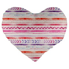 Watercolor Tribal Pattern Large 19  Premium Flano Heart Shape Cushions