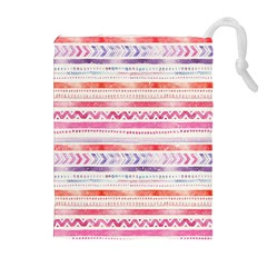 Watercolor Tribal Pattern Drawstring Pouches (extra Large)