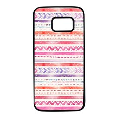 Watercolor Tribal Pattern Samsung Galaxy S7 Black Seamless Case
