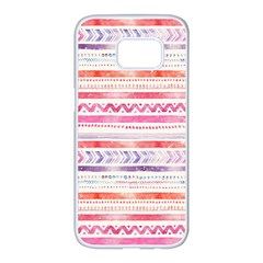 Watercolor Tribal Pattern Samsung Galaxy S7 Edge White Seamless Case by tarastyle