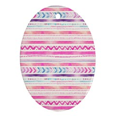 Watercolor Tribal Pattern  Ornament (oval)