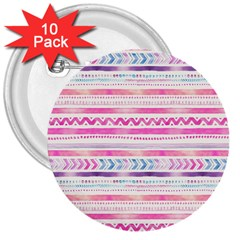 Watercolor Tribal Pattern  3  Buttons (10 Pack)