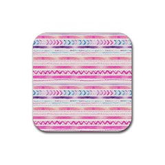 Watercolor Tribal Pattern  Rubber Square Coaster (4 Pack)