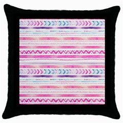 Watercolor Tribal Pattern  Throw Pillow Case (black)