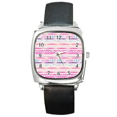 Watercolor Tribal Pattern  Square Metal Watch