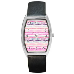 Watercolor Tribal Pattern  Barrel Style Metal Watch