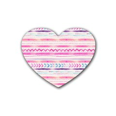Watercolor Tribal Pattern  Heart Coaster (4 Pack)