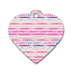 Watercolor Tribal Pattern  Dog Tag Heart (one Side) by tarastyle