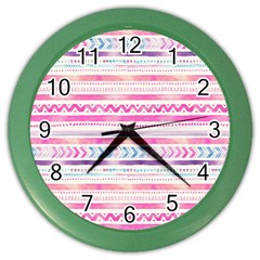 Watercolor Tribal Pattern  Color Wall Clocks