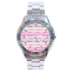 Watercolor Tribal Pattern  Stainless Steel Analogue Watch