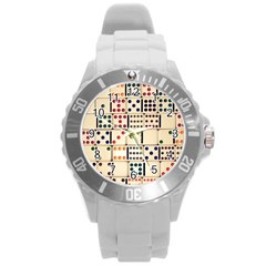 Old Domino Stones Round Plastic Sport Watch (l) by Sapixe
