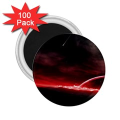 Outer Space Red Stars Star 2 25  Magnets (100 Pack)