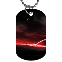Outer Space Red Stars Star Dog Tag (one Side) by Sapixe