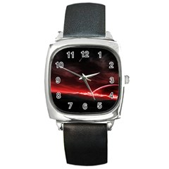 Outer Space Red Stars Star Square Metal Watch