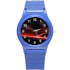 Outer Space Red Stars Star Round Plastic Sport Watch (s)