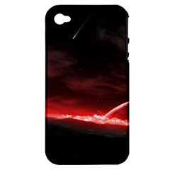 Outer Space Red Stars Star Apple Iphone 4/4s Hardshell Case (pc+silicone) by Sapixe