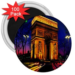 Paris Cityscapes Lights Multicolor France 3  Magnets (100 Pack) by Sapixe