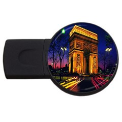 Paris Cityscapes Lights Multicolor France Usb Flash Drive Round (2 Gb) by Sapixe