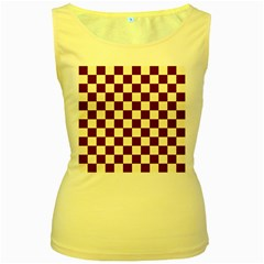 Pattern Background Texture Women s Yellow Tank Top