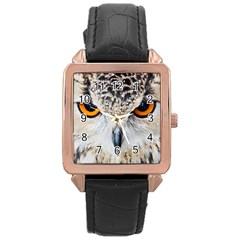 Owl Face Rose Gold Leather Watch  by Sapixe