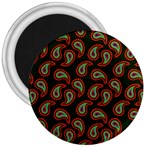 Pattern Abstract Paisley Swirls 3  Magnets Front