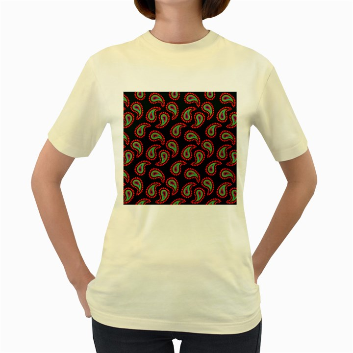 Pattern Abstract Paisley Swirls Women s Yellow T-Shirt