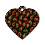 Pattern Abstract Paisley Swirls Dog Tag Heart (Two Sides) Front