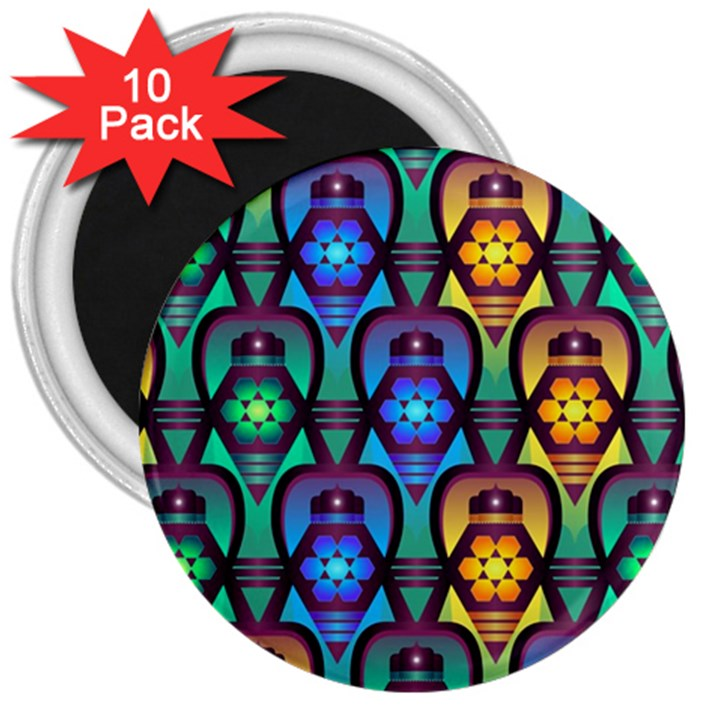 Pattern Background Bright Blue 3  Magnets (10 pack)