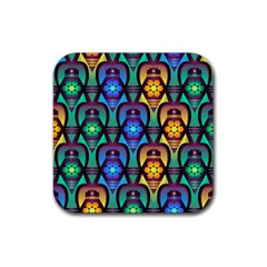 Pattern Background Bright Blue Rubber Square Coaster (4 Pack)  by Sapixe