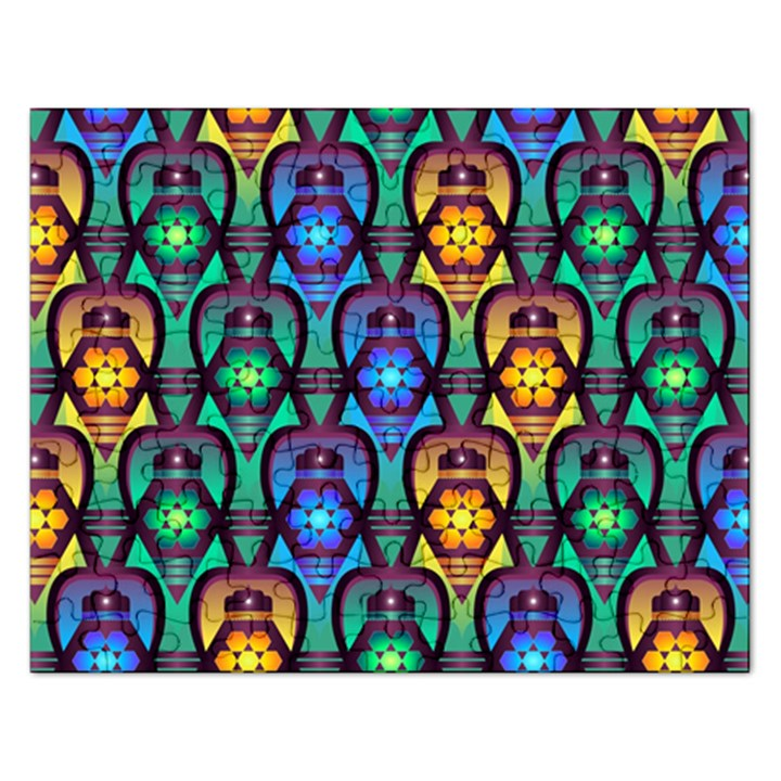 Pattern Background Bright Blue Rectangular Jigsaw Puzzl