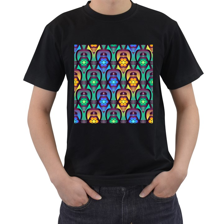 Pattern Background Bright Blue Men s T-Shirt (Black) (Two Sided)